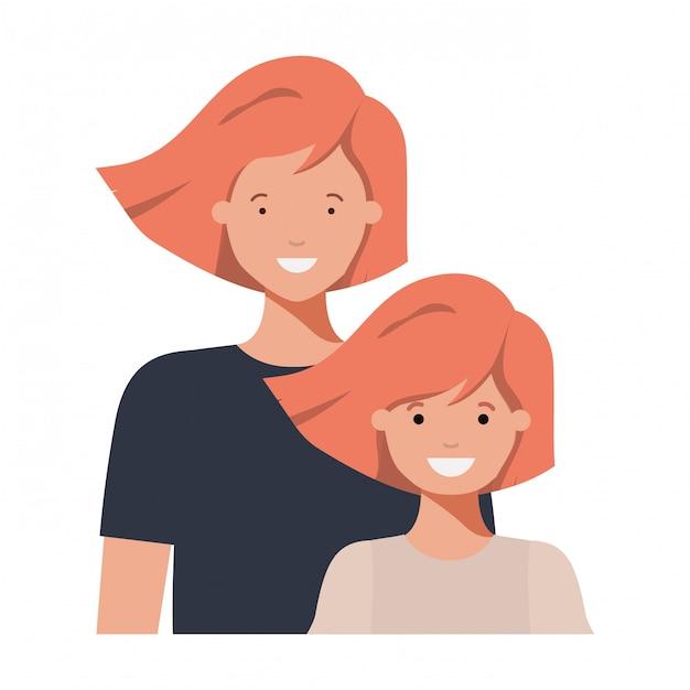 Mãe e filha sorrindo personagem avatar Vetor Premium