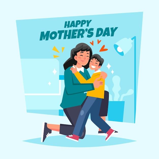 Mãe e filho abraçando na sala de estar Vetor grátis