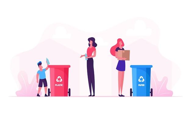Mãe e filho jogam lixo em recipientes com placa de reciclagem de plástico. ilustração plana dos desenhos animados Vetor Premium