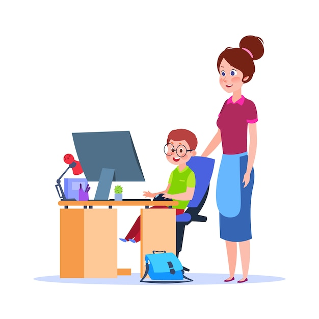 Mãe e filho no computador. mãe, ajudando o menino com a lição de casa. educação escolar dos desenhos animados Vetor Premium