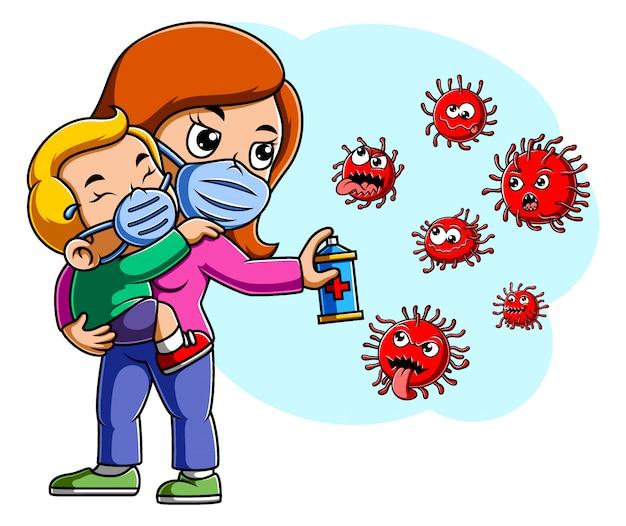 Mãe e seu bebê spray para limpar o vírus corona Vetor Premium