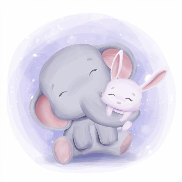 Mãe elefante abraçando coelho com amor Vetor Premium