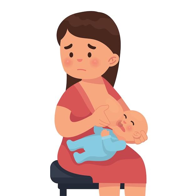 Mãe está triste porque não pode amamentar seu bebê Vetor Premium