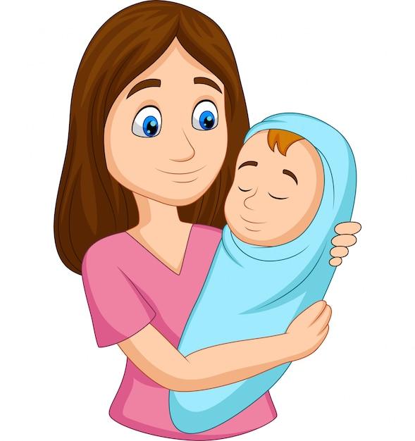 Mãe feliz, carregando, bebê recém-nascido, embrulhado, em, azul Vetor Premium