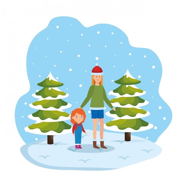 Mãe filha, com, roupas inverno, em, snowscape Vetor Premium