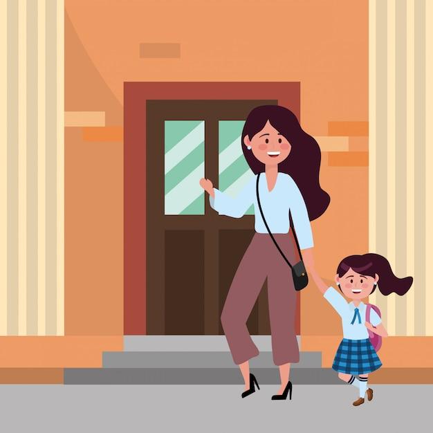 Mãe filha, indo escola Vetor grátis