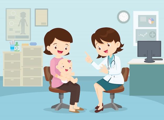 Mãe levou o filho para ver o médico Vetor Premium