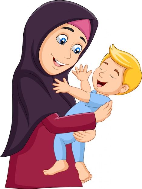 Mãe muçulmana abraçando seu filho Vetor Premium
