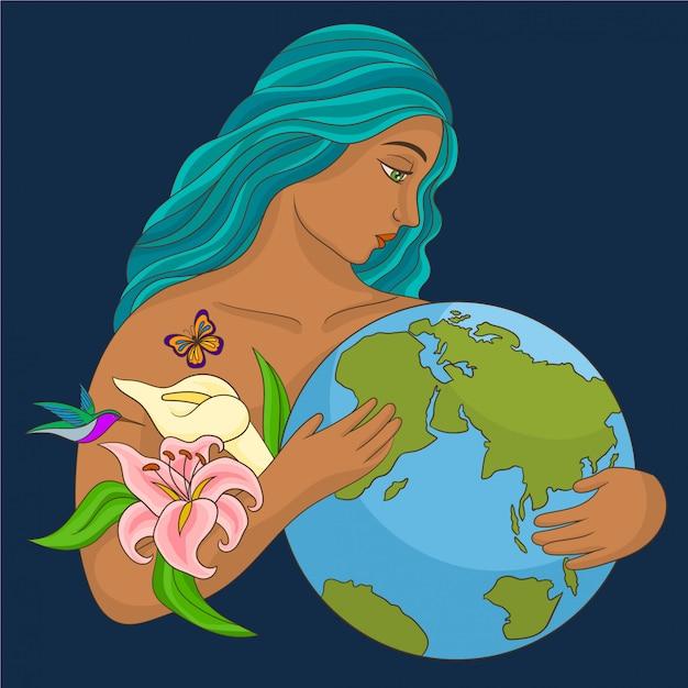 Mãe natureza abraçando o planeta Vetor Premium