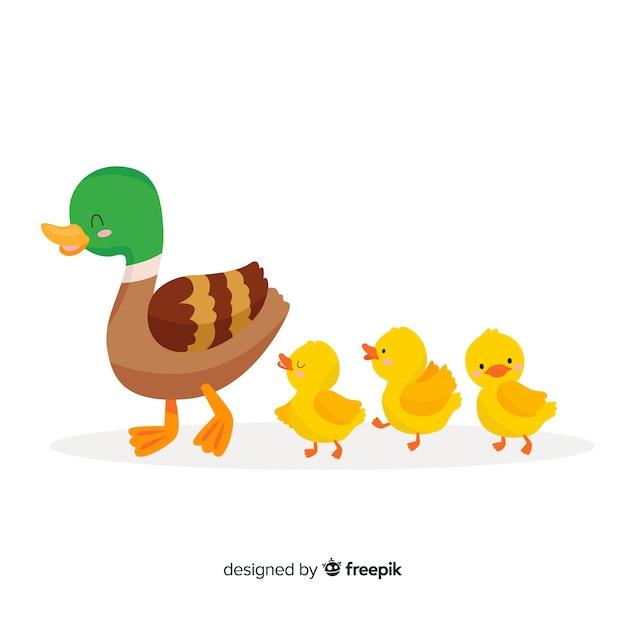 Mãe pato e seus patinhos a passar tempo juntos Vetor grátis