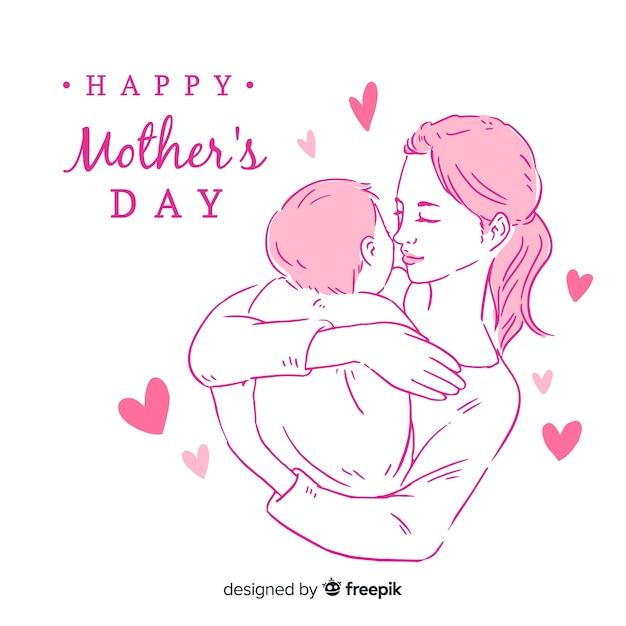 Mãe, segurando, bebê, dia mãe, fundo Vetor grátis
