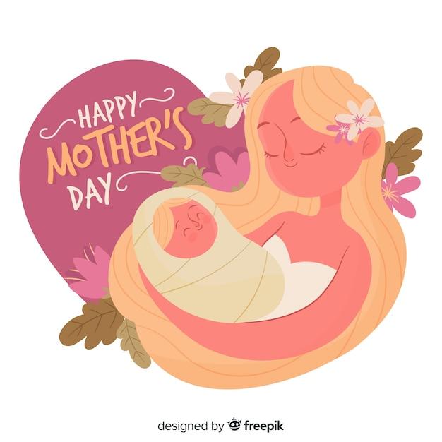Mãe, segurando, dela, bebê, dia mãe, fundo Vetor grátis