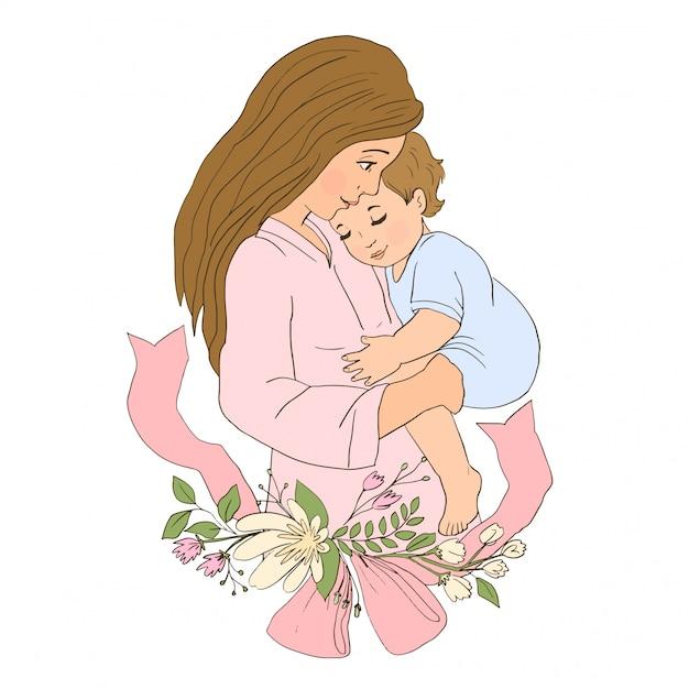 Mãe, segurando o filho bebê nos braços. Vetor Premium