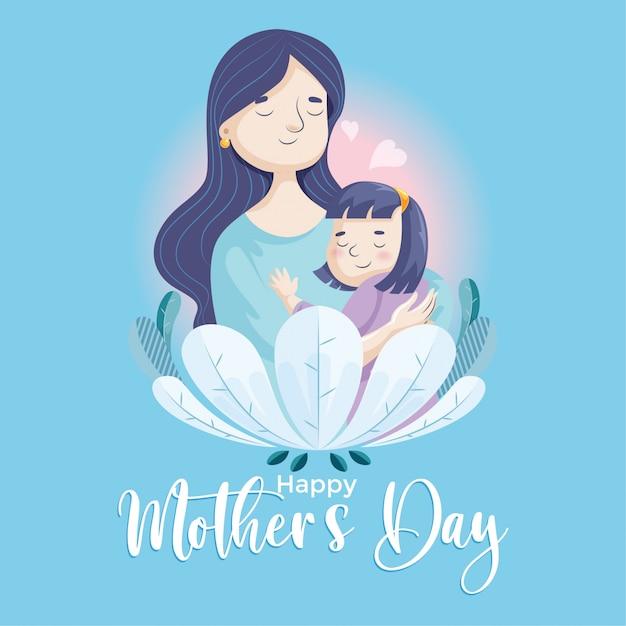Mães dia-mãe e filha 01 Vetor Premium