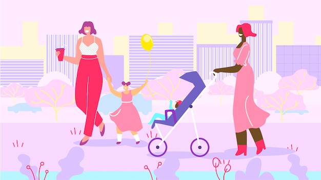 Mães felizes com as crianças na caminhada no parque urbano Vetor Premium