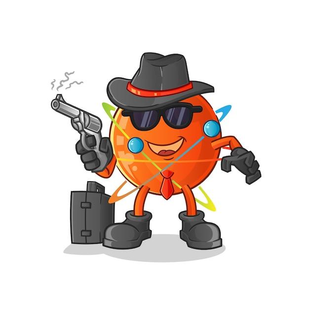Máfia atômica com caráter de arma. Vetor Premium