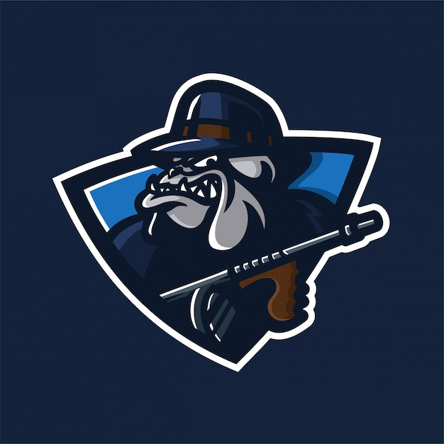 Mafia bulldog esporte jogo mascote logotipo modelo Vetor Premium