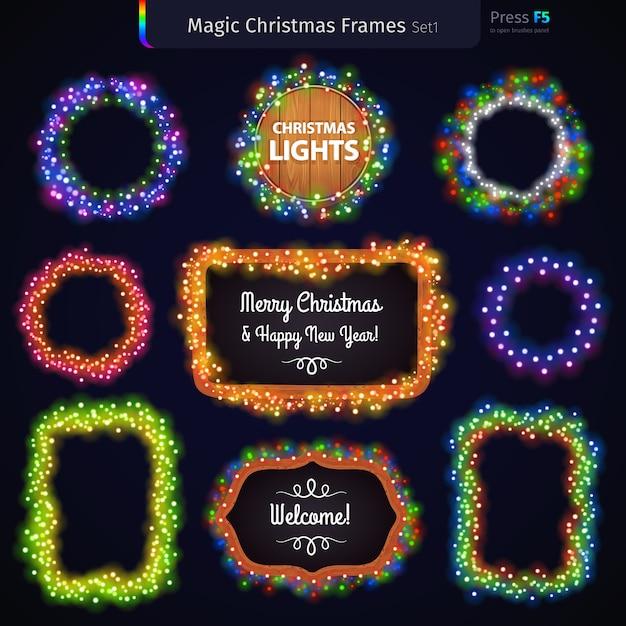 Magic christmas frames set Vetor Premium