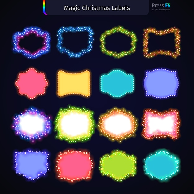 Magic christmas labels set Vetor Premium