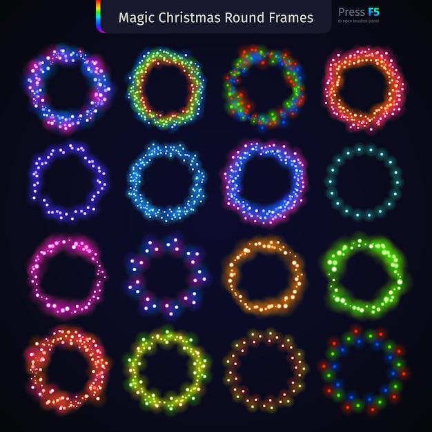 Magic christmas round frames set Vetor Premium