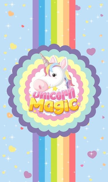 Mágica de unicórnio com logotipo de cabeça de unicórnio fofa em moldura redonda ondulada com listras de arco-íris em fundo azul brilhante Vetor Premium