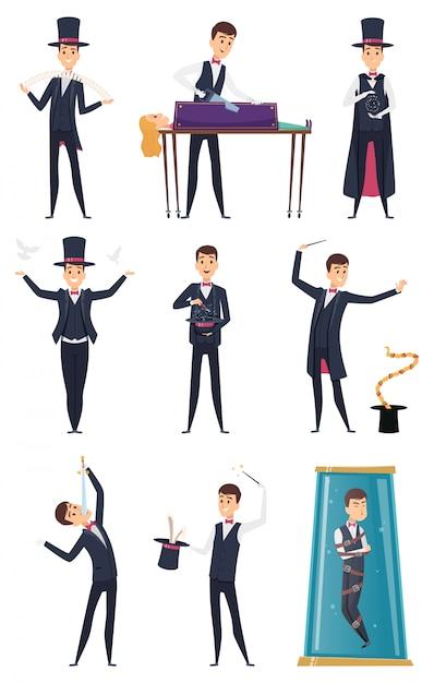 Mágico. artistas do artista masculino em traje preto e luvas brancas truques de mágica personagens de desenhos animados Vetor Premium