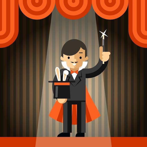 Mágico segurando cartola com coelho. show e truque, mágica e varinha, animal e ilusão, ilustração vetorial Vetor grátis