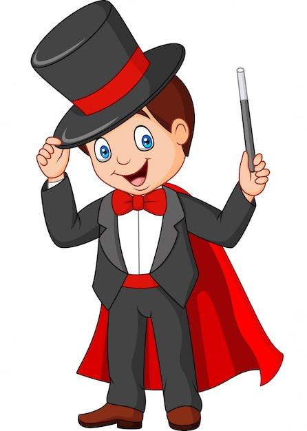 Mago dos desenhos animados, segurando a varinha mágica Vetor Premium
