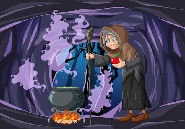 Mago ou bruxa com pote mágico e maçã vermelha em cena de caverna escura Vetor grátis