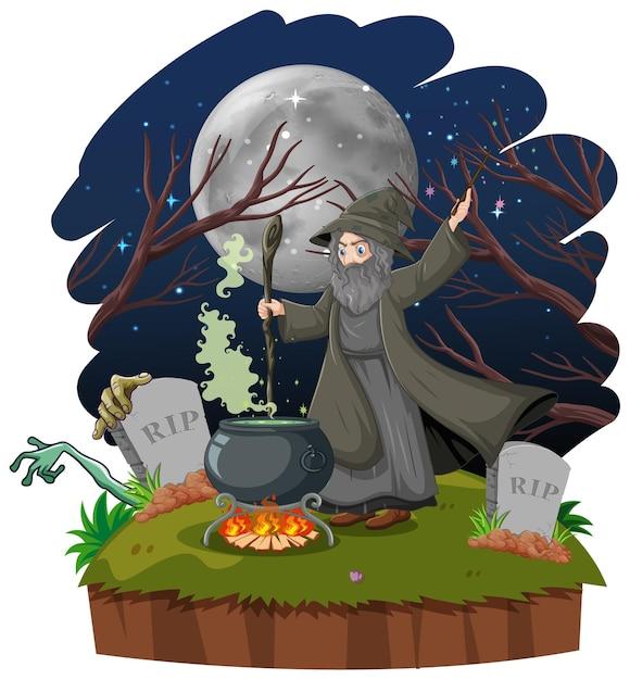 Mago ou bruxa com um pote mágico e um túmulo estilo cartoon isolado no fundo branco Vetor grátis