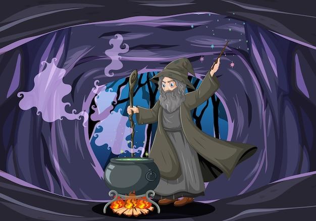 Mago ou bruxa com um pote mágico em uma caverna escura Vetor grátis