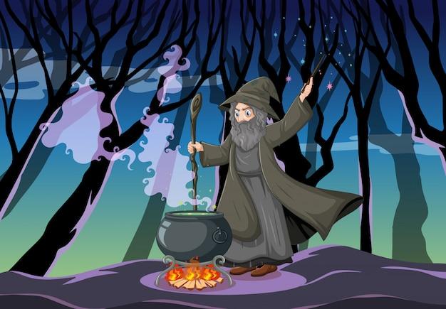 Mago ou bruxa com um pote mágico na cena da floresta escura Vetor Premium