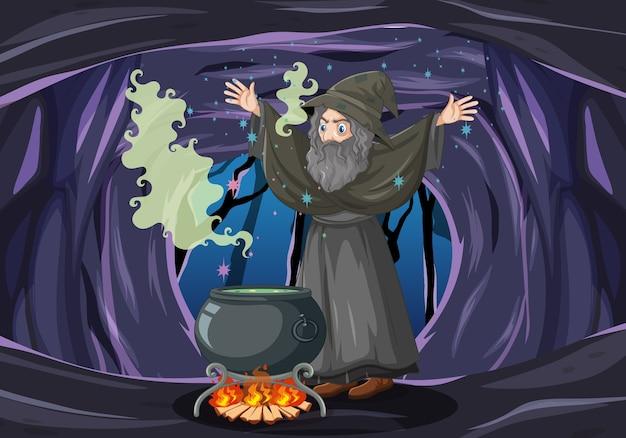 Mago ou bruxa com um pote mágico no fundo escuro da caverna Vetor grátis