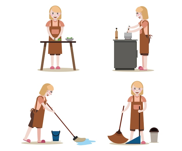 Maids work set. Vetor Premium