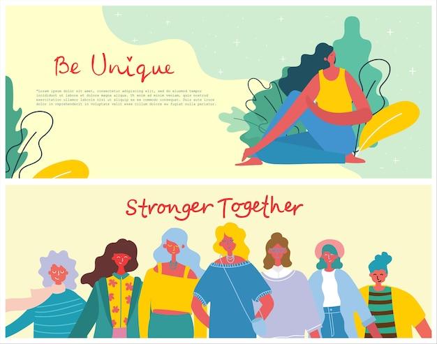 Mais fortes juntos. conceito feminino e design de empoderamento da mulher Vetor Premium