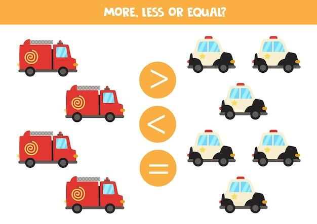 Mais, menos, igual a um caminhão de bombeiros e um carro de polícia. jogo de matemática. Vetor Premium
