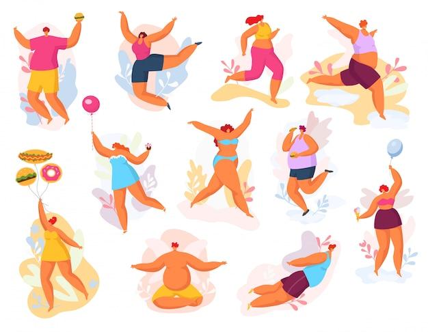 Mais o tamanho feliz dançando pessoas ilustração conjunto, homem gordo mulher na dança, conceito positivo do corpo Vetor Premium