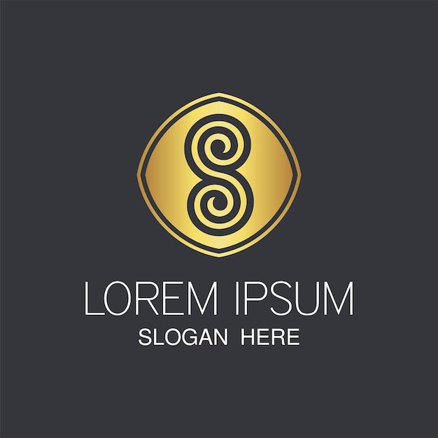 Mais recente logotipo dourado s. resumo criativo s design de logotipo. Vetor Premium
