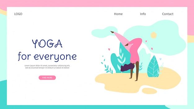 Mais tamanho jovem mulher fazendo yoga asana na natureza. Vetor Premium