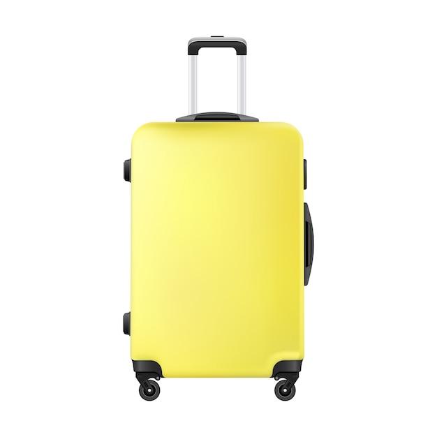 Mala de plástico amarelo viagem realista mão bagagem Vetor Premium