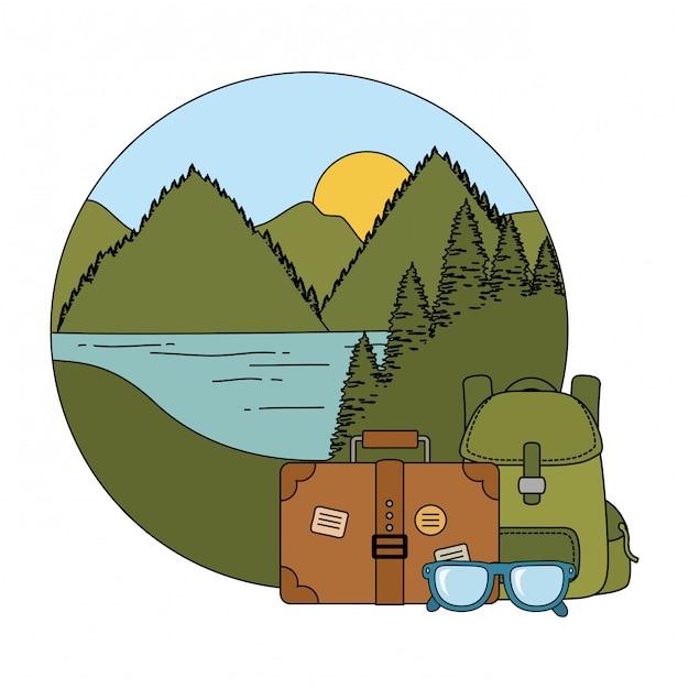 Mala de viagem acampar com mala Vetor Premium