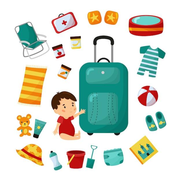 Mala de viagem com o bebê. viagem para praia com criança. lista de verificação essencial. Vetor Premium