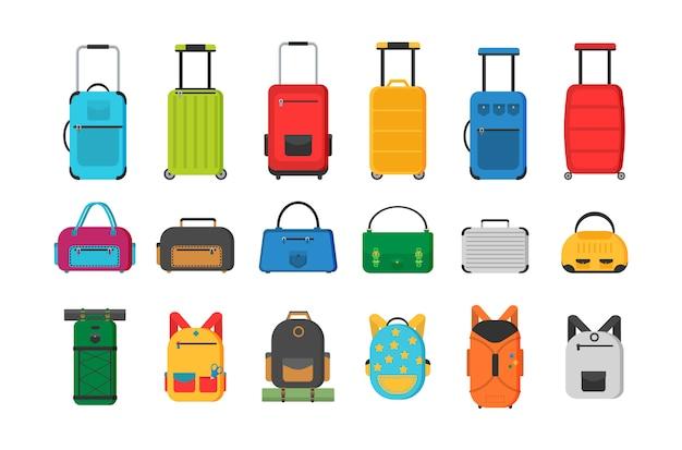 Mala grande e pequena, bagagem de mão, mochila, caixa, bolsa. diferentes tipos de sacolas. malas de plástico, metal, mochilas, malas para bagagem. Vetor Premium