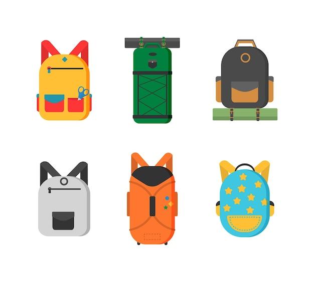 Malas de plástico, metal, mochilas, sacos para bagagem. diferentes tipos de bagagem. mala grande e pequena, bagagem de mão, mochila, caixa, bolsa. Vetor Premium