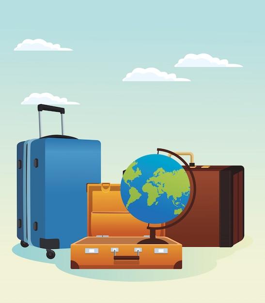Malas de viagem e ícone do globo Vetor Premium