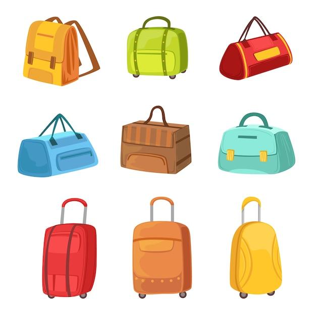 Malas e outros sacos de bagagem conjunto de ícones Vetor Premium
