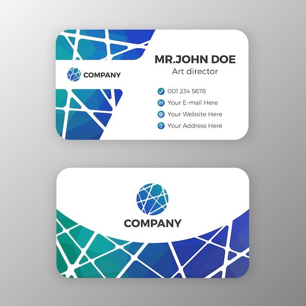Malha abstrata e design de modelo de cartão de nome poligonal Vetor Premium