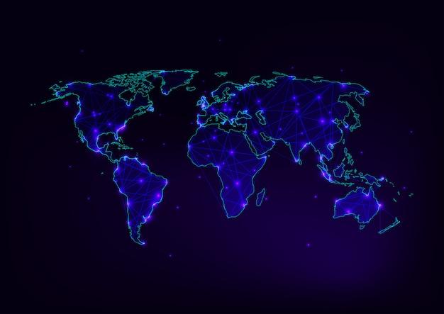 Malha de mapa do mundo com contorno de continentes feito de linhas Vetor Premium