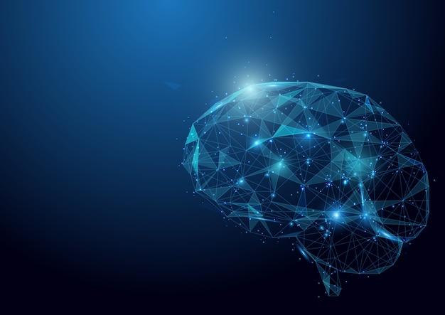Malha de wireframe cérebro baixo polígono em fundo azul Vetor Premium
