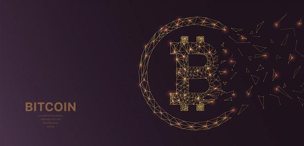 Malha de wireframe poligonal futurista com bitcoin Vetor Premium